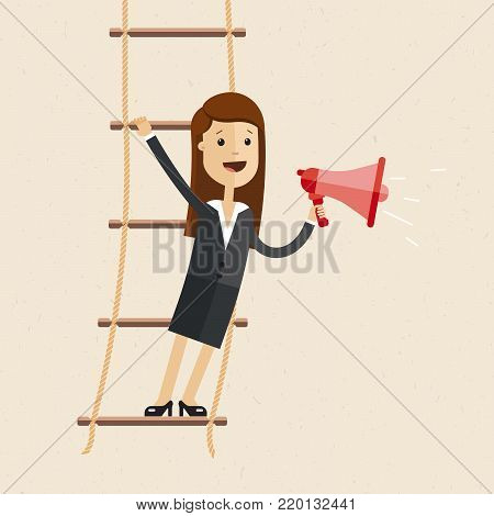 Business woman stand s on rope ladder and speak through a loudspeaker. Vector, illustration, flat