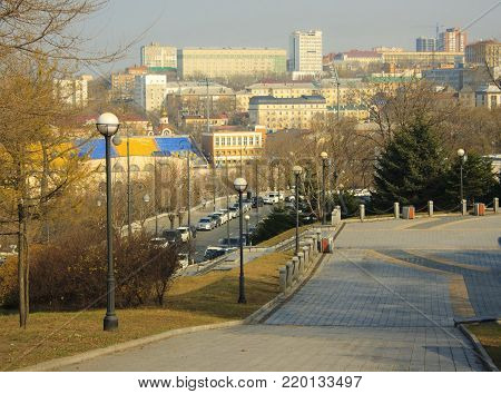 Autumn landscape of the city of Vladivostok. The city is on the hills.