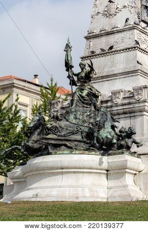 Base of the Monument to commemorate Henry the Navigator on the Infante D. Henrique square in Porto, Portugal, sculpted by Tomas Costa, started in 1894, completed in 1900
