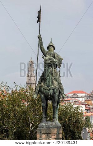 Porto, Portugal, August 15, 2017: Bronze equestrian statue of Vimara Peres, 9th century nobleman, the first ruler of Portugal, sculpted by Barata Feyo in 1968.