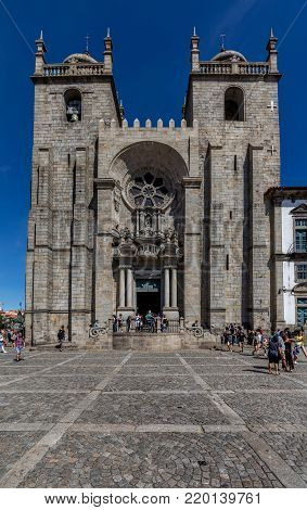 Porto, Portugal, August 15, 2017: Porto Cathedral is one of the most important tourist sights in Porto, Portugal and a historical and architectural landmark of the city.