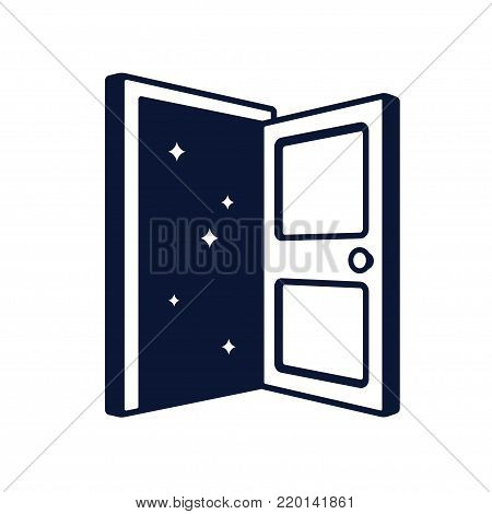 Open door logo vector illustration. Doorway to dark space with stars, fantasy and mystery concept.