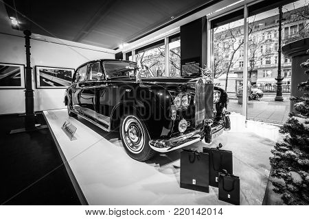 BERLIN - DECEMBER 21, 2017: Showroom. British ultra-exclusive limousine Rolls-Royce Phantom VI, 1970. Coachwork was created by Mulliner Park Ward. Black and white.