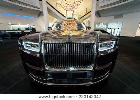 BERLIN - DECEMBER 21, 2017: Showroom. Full-size luxury car Rolls-Royce Phantom VII Series II Extended Wheelbase. Since 2012.