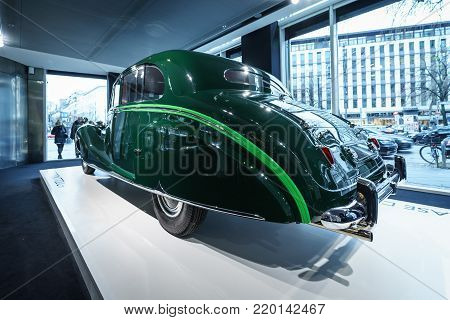 BERLIN - DECEMBER 21, 2017: Showroom. Luxury car Rolls-Royce Phantom IV sedanca de ville limousine, 1952. Coachwork by Hooper of London. Former owner Sir Sultan Muhammed Shah, Aga Khan III.