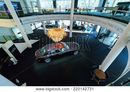 BERLIN - DECEMBER 21, 2017: Showroom. Full-size luxury car Rolls-Royce Phantom VII Series II Extended Wheelbase. Since 2012. View from above.