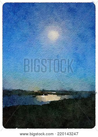 Digital watercolor painting of a night seascape with the moon in the blue sky reflecting in the water off the land, with space for text.