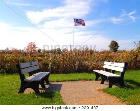 Flag And Benches
