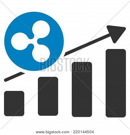 Ripple Growing Bar Chart flat vector illustration. An isolated icon on a white background.