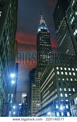 Skyscrapers on 41 street New York city lights at night