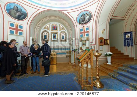 ST. PETERSBURG, RUSSIA - AUGUST 30, 2017: People in the Home Church of Yusupov palace. The palace was erected in the late XVIII century