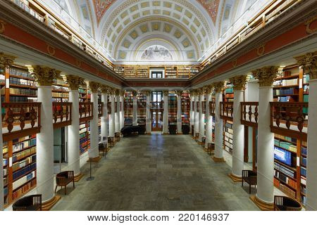 HELSINKI, FINLAND - NOVEMBER 6, 2017: Interior of the National Library of Finland. The building was erected in 1832 by design of the architect Carl Ludvig Engel