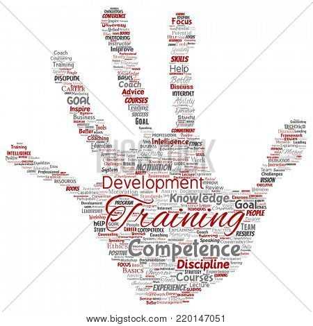 Conceptual training, coaching or learning, study hand print stamp word cloud isolated on background. Collage of mentoring, development, motivation skills, career, potential goals or competence