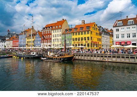 COPENHAGEN, DENMARK : AUGUST 4, 2016: Tourism is a major contributor to Copenhagen's economy, attracting visitors due to the city's harbour, cultural attractions and award-winning restaurants.