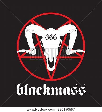 Black Mass vector design Black Mass design featuring pentagram and goat skull with 666 marking.