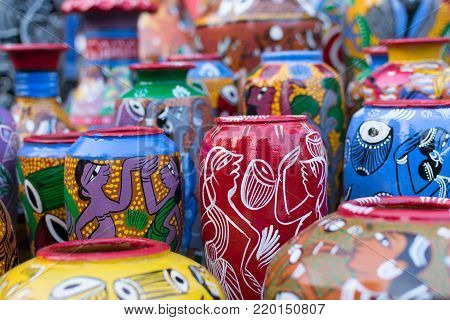 Bright colorful terracotta pots, works of handicraft, on display during Handicraft Fair in Kolkata - the biggest handicrafts fair in Asia.