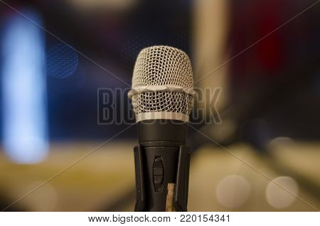 Close up shot of microphone  mic with bokeh background