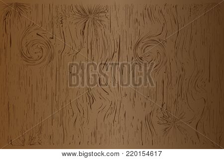 wood plank pattern texture and gnarl line surface, brown beautiful board for background. Vector illustration