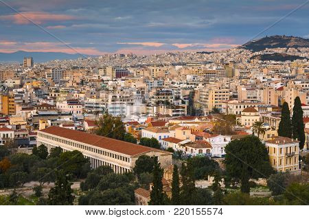 ATHENS, GREECE - DECEMBER 27, 2017: Reconstructed Stoa and the old town of Athens as seen from the Areopagus hill aon December 27, 2017.