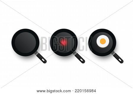 Three realistic vector pans. The process of cooking fried eggs. Cold and hot frying pan
