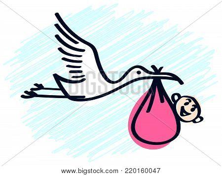 A stork brings a newborn baby girl