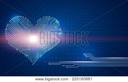 Abstract digital illustration of microchip board on heart shape on blue background. Conceptual St. Valentine's greeting card.