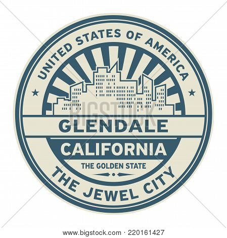 Stamp or label with text Glendale, California written inside vector illustration