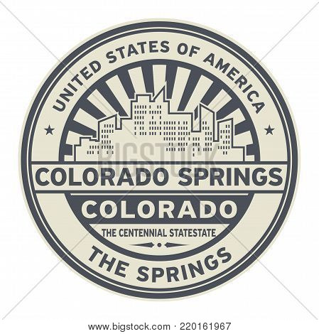 Stamp or label with text Colorado Springs, Colorado written inside vector illustration