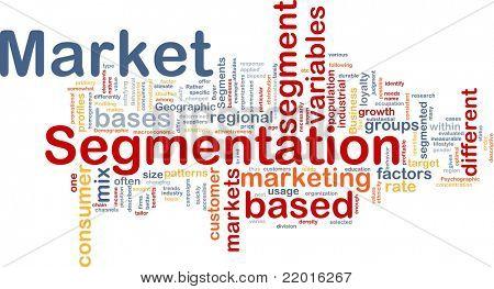 Background concept wordcloud illustration of business market segmentation