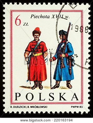 Moscow, Russia - December 31, 2017: A stamp printed in Poland, shows uniform of Non-commissioned infantry officers (17th century), series
