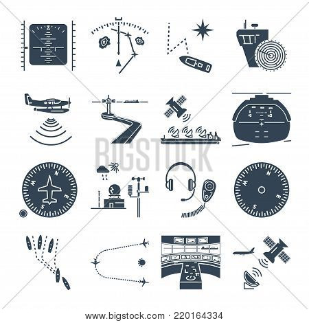 set of black icons sea and air navigation, piloting, equipment, devices