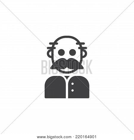 Grandfather icon vector, filled flat sign, solid pictogram isolated on white. Old man grandpa symbol, logo illustration.