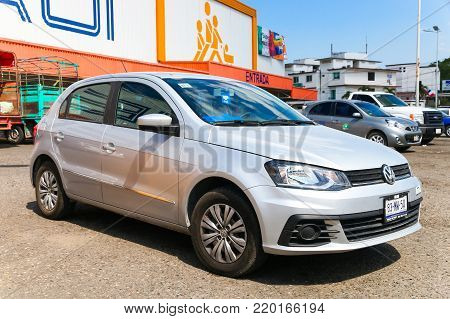 Palenque, Mexico - May 22, 2017: Motor car Volkswagen Gol in the city street.