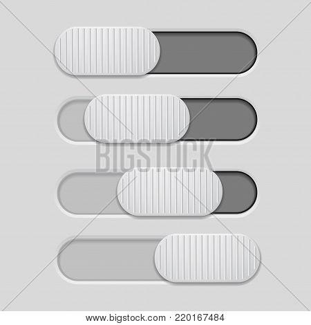 Interface slider. Dark gray bar on light gray background. Vector illustration