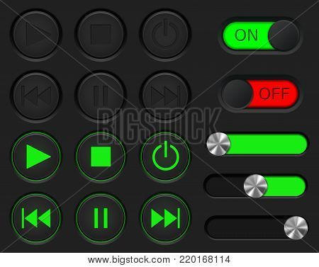 Set of media player buttons. User interface icon collection. Black and green. Vector illustration