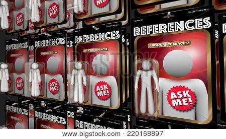 References Personal Character Referral Action Figures 3d Illustration