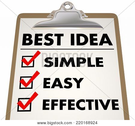 Best Idea Simple Easy Effective Checklist 3d Illustration