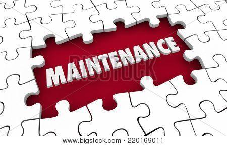 Maintenance Upkeep Fix Solve Problem Puzzle 3d Illustration