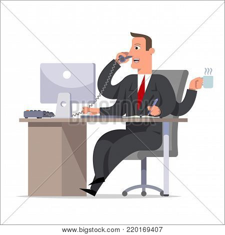Effective competent leader, businessman or manager with many hands doing a lot of tasks. Multitasking, versatility, competence, management concept. Flat cartoon style vector illustration.