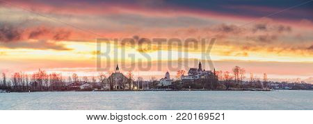 Helsinki, Finland. Panoramic View Of Sunrise Landscape Of Blekholmen Valkosaari Island And Luoto Island.