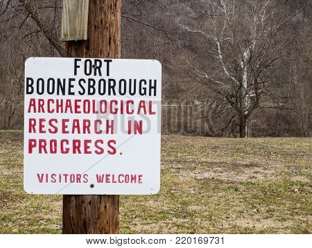 Richmond, Kentucky, USA - February 12, 2015: Fort Boonesborough was founded by Daniel Boone in the 1700's and is the site of archaeological research by college students from the University of Kentucky