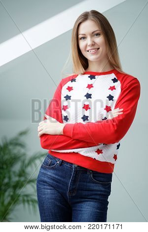 Beauty woman looking at camera at home