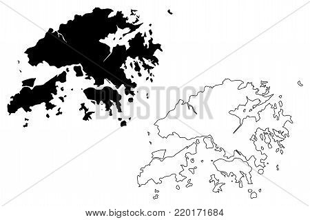Hong Kong map vector illustration, scribble sketch Hong Kong Special Administrative Region of the People's Republic of China