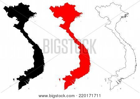 Vietnam map vector illustration, scribble sketch Socialist Republic of Vietnam