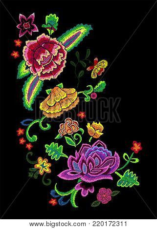 Embroidery angular pattern with colorful simplify flowers. Vector embroidered floral patch for clothing design.