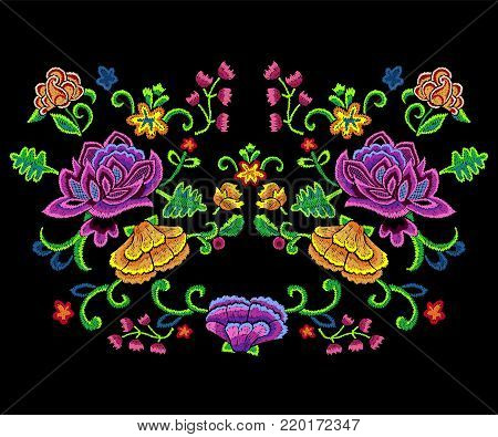 Embroidery botanical trend pattern with colorful simplify flowers. Vector embroidered floral patch for clothing design.
