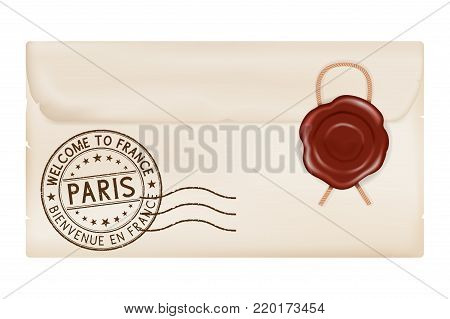 Welcome to France. Tourist stamp PARIS. Wax sealed envelope. Vector 3d illustration isolated on white background