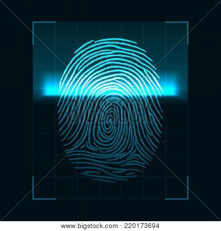 Fingerprint scanning concept. Digital biometric security system and data protection. Personal authorization screen. Vector illustration isolated on dark background
