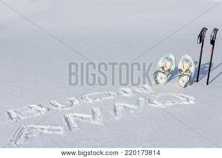 Happy New Year And Snowshoes