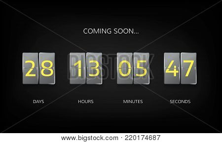 Countdown timer clock counter. Countdown web site flat template. Flip business scoreboard display design. Vector illustration on dark background